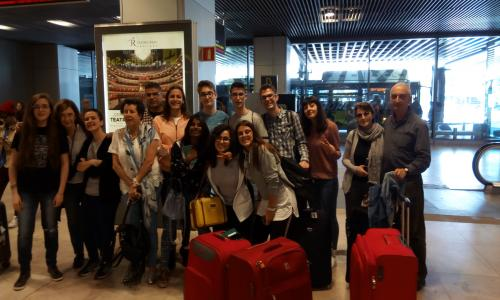 With Italian group at Barajas